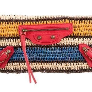 Authentic Balenciaga Panier Straw Stripe Clutch